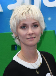Portia Freeman looked adorable with her platinum-blonde razor cut at the UK premiere of 'Shaun the Sheep Movie: Farmageddon.'