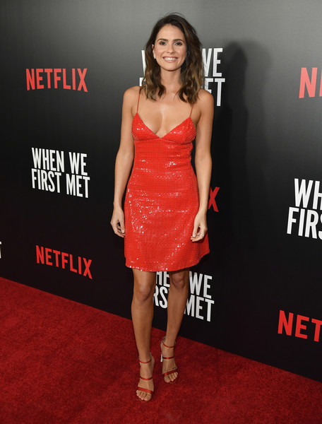 Shelley Hennig Strappy Sandals [dress,clothing,cocktail dress,shoulder,premiere,fashion model,carpet,fashion,joint,red carpet,shelley hennig,when we first met,california,arclight theaters,special screening of netflix original film]