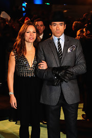 Susan Downey showed a hint of sexiness at the 'Sherlock Holmes' premiere in a deep-V LBD with an embellished bodice and a flirty sheer skirt.