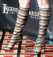 Katherine Heigl showed off these killer lace knee-high boots at Showest. Lace is a hot trend right now and continues to show up on celebs red carpet looks.
