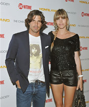 Nacho Figueras softened up his rugged tee and jeans combo with a stylish gray blazer during the premiere of 'Homeland.'