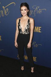 Lucy Hale looked provocative in a Giorgio Armani jumpsuit with a down-to-the-navel neckline at the Showtime Emmy nominees celebration.