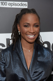 Shanola Hampton stuck to her signature dreadlocks when she attended the celebration of the 100th episode of 'Shameless.'