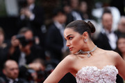 Olivia Culpo pulled her hair back into a bun for the 2019 Cannes Film Festival screening of 'Sibyl.'