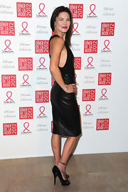 Delphine Chaneac looked stylish wearing a leather pencil skirt at the Sidaction Gala Dinner 2012.