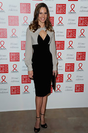 Hilary Swank looked supremely elegant in this long-sleeve cocktail dress for the Sidaction Gala Dinner.