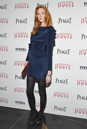 Alice Shoemaker wore this blue satin dress to the 'Silent House' premiere in NYC.