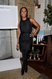 June Ambrose attended the Do What You Love fashion and beauty conference looking edgy-chic in a rope-detail LBD by Balmain x H&M .