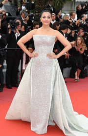 Aishwarya Rai dazzled in a crystal-embellished strapless gown by Rami Kadi Couture at the Cannes Film Festival screening of 'Sink or Swim.'
