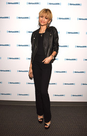 Zendaya Coleman kept it low-key in a black jumpsuit teamed with a leather jacket while visiting SiriusXM Hits 1.