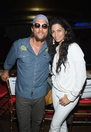Camila Alves donned a simple white wrap top for the Duran Duran concert.