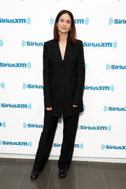 Katherine Waterston kept it low-key in a simple black pantsuit while visiting SiriusXM's Town Hall.