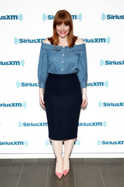 Bryce Dallas Howard paired her top with a midnight-blue pencil skirt.