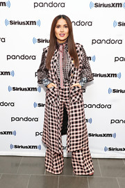 Salma Hayek gave us major '70s vibes with her bell-bottom plaid pantsuit while visiting SiriusXM's 'Town Hall.'