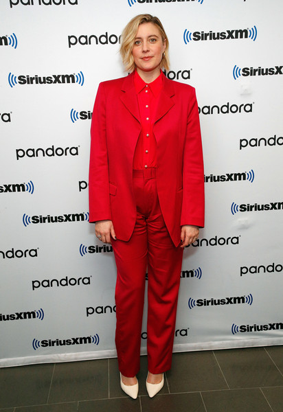 Greta Gerwig punctuated her red outfit with white pumps.