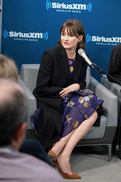 More Pics of Emily Mortimer Pumps (1 of 33) - Heels Lookbook - StyleBistro [town hall with the cast of mary poppins returns,yellow,sitting,fashion,event,leg,employment,electric blue,white-collar worker,premiere,interview,emily mortimer,new york city,siriusxm]