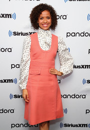 Gugu Mbatha-Raw accessorized with a gold wide-band ring for her visit to SiriusXM.
