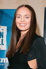 Laura Haddock visited SiriusXM's 'Town Hall' sporting her signature center-parted style.