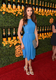 Nina Dobrev was a breath of fresh air in her sky-blue Badgley Mischka frock while attending the Veuve Clicquot Polo Classic.