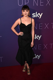 Maisie Williams turned heads in a black Olivier Theyskens corset dress with a handkerchief hem at the Sky Up Next 2020.