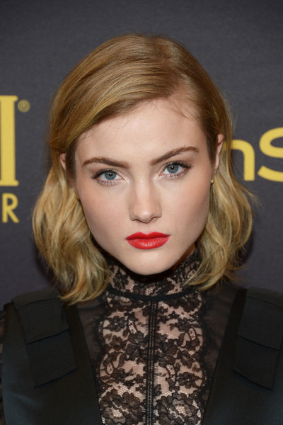 Skyler Samuels Short Wavy Cut [hair,face,lip,hairstyle,blond,eyebrow,chin,beauty,cheek,forehead,skyler samuels,golden globe award,catch la,west hollywood,california,hollywood foreign press association and instyle celebrate,instyle]