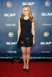 Marin Ireland was edgy yet cute in a leather-trimmed peplum LBD during the premiere of 'The Slap.'
