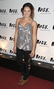 Rebecca Breeds radiated in a sequined silver camisole at the Max Sessions.