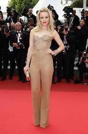 Rachel McAdams paired a gold beaded corset top with high wasited pants for a sleek and modern red carpet look.