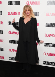 Goldie Hawn attended the special screening of 'Snatched' wearing a flared black coat by Sa Dot Na.