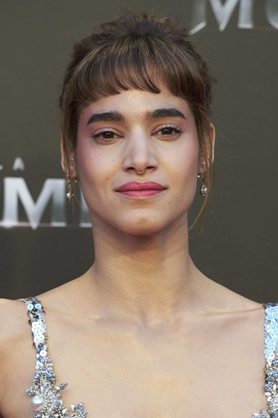Sofia Boutella Retro Updo [the mummy madrid premiere,cinema,hair,face,hairstyle,eyebrow,lip,beauty,chin,shoulder,bangs,brown hair,sofia boutella,tom cruise attends,madrid,spain,callao,premiere]