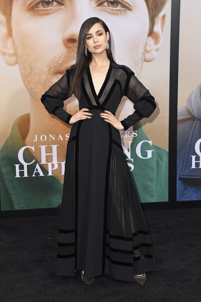 Sofia Carson Studded Heels [clothing,carpet,red carpet,dress,premiere,flooring,fashion,shoulder,long hair,a-line,arrivals,sofia carson,california,los angeles,regency bruin theatre,amazon prime video,chasing happiness,premiere]