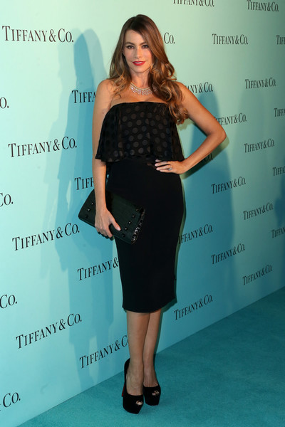 Sofia Vergara Strapless Dress [clothing,dress,shoulder,cocktail dress,fashion,little black dress,strapless dress,premiere,waist,footwear,sofia vergara,beverly hills,store,renovated beverly hills store,california,tiffany and co,tiffinay co,unveiling]
