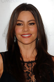 The gorgeous Sofia Vergara opened OMEGA's new boutique wearing brownish-red lipstick. She completed her dark lip with brown shadow.