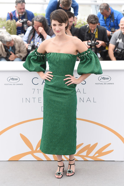 Phoebe Waller-Bridge looked feminine and elegant in a green off-the-shoulder dress by Mother of Pearl at the Cannes Film Festival photocall for 'Solo: A Star Wars Story.'