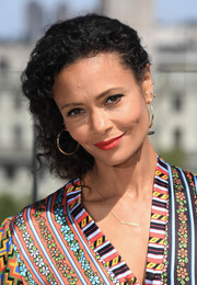 Thandie Newton looked charming with her side-swept curls at the 'Solo: A Star Wars Story' photocall in London.