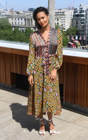 Thandie Newton was boho-chic in a mixed-print dress at the 'Solo: A Star Wars Story' photocall in London.
