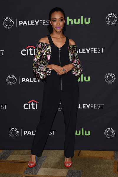 Sonequa Martin-Green Jumpsuit [the walking dead,photo,carpet,fashion design,premiere,talent show,award,event,performance,style,pantsuit,shoe,arrivals,sonequa martin-green,red carpet,los angeles,hollywood,paley center for media,paleyfest,opening night presentation]