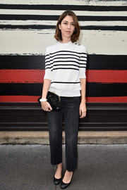 Sofia Coppola kept it casual yet chic in a black-and-white striped knit top at the Sonia Rykiel fashion show.