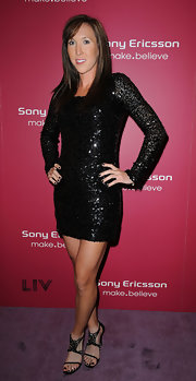 Jelena Jankovic's embellished black evening sandals were a sexy complement to her LBD at the Sony Ericsson Open kick-off party.
