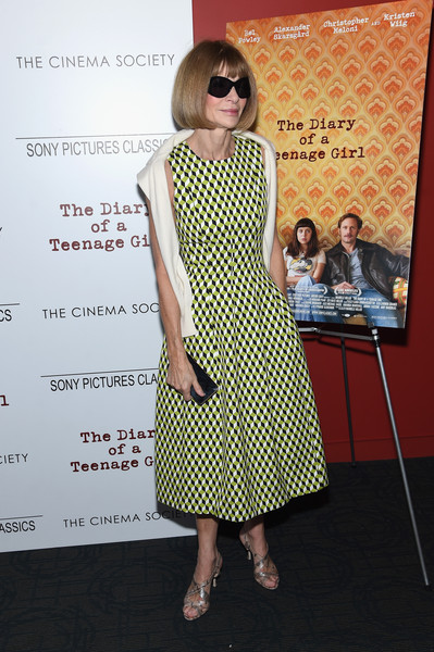More Pics of Anna Wintour Bob (1 of 5) - Anna Wintour Lookbook - StyleBistro [sony pictures classics with the cinema society host a screening,the diary of a teenage girl,clothing,dress,eyewear,fashion,yellow,pattern,premiere,polka dot,footwear,design,arrivals,anna wintour,editor-in-chief,screening,american,new york city,sony pictures classics,the cinema society at landmark sunshine cinema]