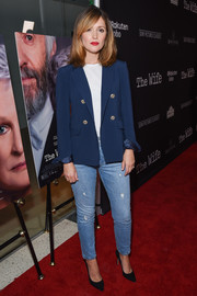 Rose Byrne went rugged on the red carpet in a pair of ripped jeans at the premiere of 'The Wife.'