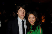 Actors Jesse Eisenberg (L) and Branda Strong pose at Sony Pictures Home Entertainment's