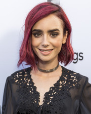 Lily Collins rocked short magenta waves at the Sony Pictures Social Soiree.