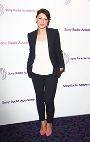 Emma Willis chose this sleek navy suit with skinny pants for her look at the Sony Radio Academy Awards.