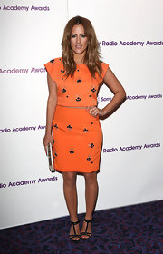 Caroline rocked this knee-length orange embellished skirt for her look at the Sony Radio Academy Awards.