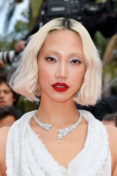 Soo Joo Park Bob [hair,lip,eyebrow,face,hairstyle,blond,beauty,chin,lady,skin,blond,once upon a time in hollywood,screening,beauty,hair,human hair color,cannes,soo joo park,red carpet,the 72nd annual cannes film festival,park soo-joo,2019 cannes film festival,blond,supermodel,human hair color,fashion,cannes,color,beauty,model]