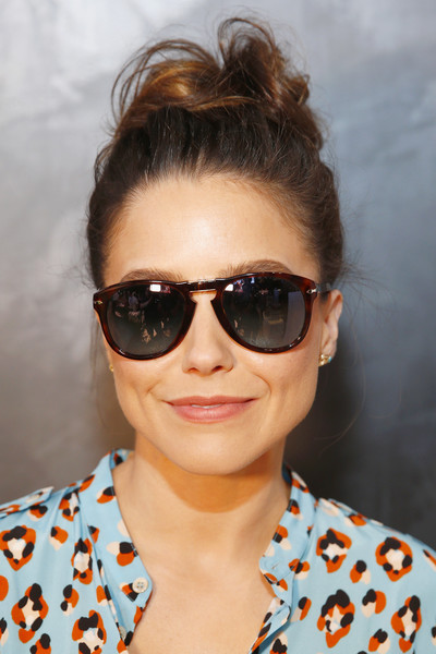 Sophia Bush Hair Knot [eyewear,hair,sunglasses,face,glasses,cool,hairstyle,lip,chin,beauty,sophia bush,new york city,sunglass hut times square,sunglass hut,made for summer event,event]