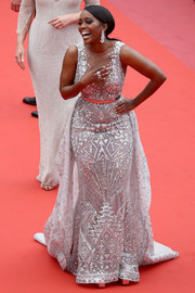 Aja Naomi King got majorly glam in an intricately beaded gown by Zuhair Murad Couture at the Cannes Film Festival screening of 'Sorry Angel.'