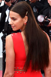 Irina Shayk opted for a simple straight hairstyle when she attended the Cannes Film Festival screening of 'Sorry Angel.'