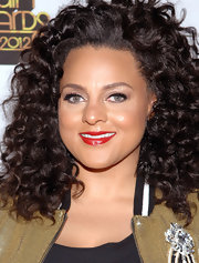 Marsha Ambrosius topped off her neutral ensemble with a swipe of bright red lipstick at the 2012 Soul Train Awards.